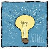 Πρότυπο έννοιας ιδέας λαμπών φωτός επίσης corel σύρετε το διάνυσμα απεικόνισης Δημιουργική λάμπα φωτός με την έννοια διαγραμμάτων Στοκ Εικόνα