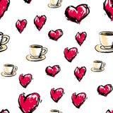 πρότυπο αγάπης άνευ ραφής Αφηρημένο υπόβαθρο με το φλυτζάνι και την καρδιά Στοκ Εικόνα