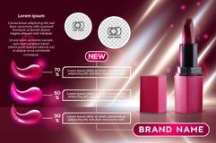 Πρότυπο αγγελιών Makeup που γοητεύει το κόκκινο πρότυπο κραγιόν με το λαμπιρίζοντας υπόβαθρο Προϊόν προώθησης σχεδίου συσκευασίας διανυσματική απεικόνιση