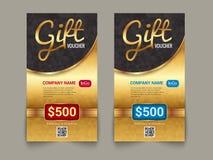 Πρότυπο αγοράς αποδείξεων δώρων με το χρυσό σχέδιο αγοράς ετικεττών Ειδικό πρότυπο σχεδίου δελτίων πιστοποιητικών προσφοράς χρυσό διανυσματική απεικόνιση