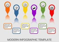 Πρότυπο απεικόνισης διαδικασίας Infographic, αφηρημένο διάνυσμα με τα στοιχεία γραφικής παράστασης, τα εικονίδια και το διάστημα  Στοκ Εικόνα