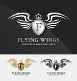 Πρότυπο ασπίδων και λογότυπων φτερών απεικόνιση αποθεμάτων