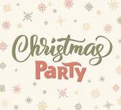 Πρότυπο αφισών γιορτής Χριστουγέννων, διανυσματική απεικόνιση Γραπτή χέρι εγγραφή Στοκ φωτογραφία με δικαίωμα ελεύθερης χρήσης