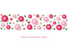 Πρότυπο αφισών ημέρας βαλεντίνων με τις καρδιές, λουλούδια, φύλλα Στοκ Εικόνες