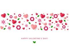 Πρότυπο αφισών ημέρας βαλεντίνων με τις καρδιές, λουλούδια, φύλλα, γουργούρισμα Στοκ Εικόνες