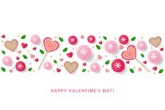 Πρότυπο αφισών ημέρας βαλεντίνων με τις καρδιές, λουλούδια, φύλλα, γουργούρισμα Στοκ Εικόνα