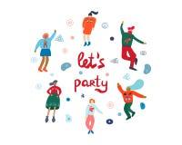 Πρότυπο αφισών κόμματος με τους χορεύοντας ανθρώπους απεικόνιση αποθεμάτων