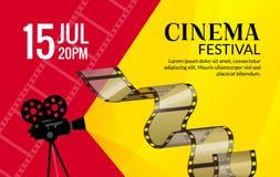 Πρότυπο αφισών φεστιβάλ κινηματογράφων Διάνυσμα camcorder και απεικόνιση μαγνητοταινιών γραμμών Υπόβαθρο τέχνης φεστιβάλ κινηματο ελεύθερη απεικόνιση δικαιώματος