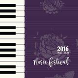 Πρότυπο αφισών φεστιβάλ πιάνων μουσικής Στοκ Φωτογραφίες