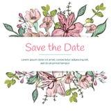 Πρότυπο γαμήλιας πρόσκλησης με τα όμορφα λουλούδια διανυσματική απεικόνιση