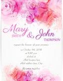 Πρότυπο γαμήλιας πρόσκλησης με τα αφηρημένα τριαντάφυλλα Στοκ Εικόνα