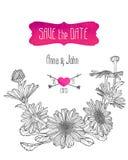 Πρότυπο γαμήλιας πρόσκλησης με τα chamomile λουλούδια Στοκ Εικόνες