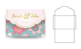 Πρότυπο γαμήλιας πρόσκλησης φακέλων με το σχέδιο λουλουδιών απεικόνιση αποθεμάτων