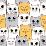 πρότυπο γατών άνευ ραφής Υπόβαθρο με τα γκρίζα, άσπρα και γατάκια πιπεροριζών διανυσματική απεικόνιση
