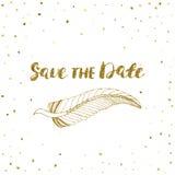 Πρότυπο για την κάρτα, έμβλημα, ιπτάμενο, εκτός από την πρόσκληση ημερομηνίας, γιορτή γενεθλίων, με το χρυσό φτερό Στοκ Εικόνα