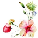 Πρότυπο για την κάρτα με τα λουλούδια άνοιξη διανυσματική απεικόνιση