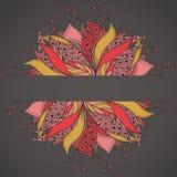 Πρότυπο για την κάρτα με το λουλούδι φαντασίας Στοκ Εικόνα