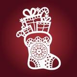 Πρότυπο για την κοπή λέιζερ Μπότα Χριστουγέννων διάνυσμα ελεύθερη απεικόνιση δικαιώματος