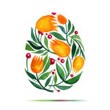 Πρότυπο για τη ευχετήρια κάρτα ή την πρόσκληση Πάσχας Ευτυχές Πάσχα! Αυγό τουλιπών λουλουδιών Watercolor