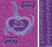 Πρότυπο για τη ευχετήρια κάρτα βαλεντίνων ` s με το χειρόγραφο αλφάβητο στοκ εικόνα με δικαίωμα ελεύθερης χρήσης