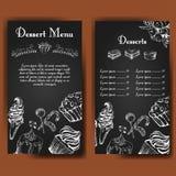 Πρότυπο για τις επιλογές επιδορπίων με τα γλυκά νόστιμα κέικ Συρμένο χέρι σχέδιο για την αφίσα, επιλογές εστιατορίων Υπόβαθρο σκί Στοκ Εικόνες