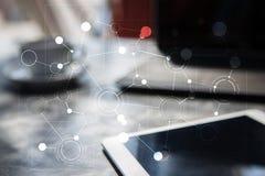 Πρότυπο για το κείμενο, εικονικό υπόβαθρο οθόνης με τα εικονίδια απομονωμένο έννοια λευκό τεχνολογίας Στοκ Εικόνες