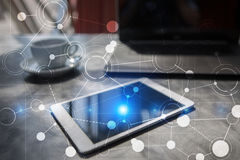 Πρότυπο για το κείμενο, εικονικό υπόβαθρο οθόνης με τα εικονίδια απομονωμένο έννοια λευκό τεχνολογίας Στοκ φωτογραφία με δικαίωμα ελεύθερης χρήσης