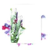 Πρότυπο για το σχέδιο πρόσκλησης με τον παφλασμό watercolor και το φρέσκο περίγραμμα λουλουδιών και μελανιού Στοκ φωτογραφία με δικαίωμα ελεύθερης χρήσης