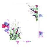 Πρότυπο για το σχέδιο πρόσκλησης με τον παφλασμό watercolor και το φρέσκο περίγραμμα λουλουδιών και μελανιού Στοκ Εικόνα