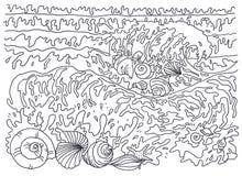 Πρότυπο για το χρωματισμό Χρωματίζοντας θαλάσσια αύρα εικόνων, κοχύλια Στοκ Εικόνες