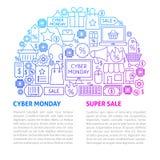 Πρότυπο γραμμών Δευτέρας Cyber Στοκ Φωτογραφίες