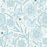 πρότυπο γραμμών λουλουδιών μελισσών άνευ ραφής Στοκ Εικόνες