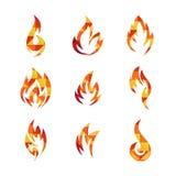 Πρότυπο εικονιδίων πυρκαγιάς Διανυσματική απεικόνιση