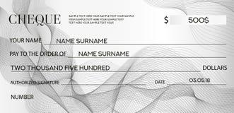 Πρότυπο ελέγχου επιταγών, πρότυπο Chequebook Επιταγή τράπεζας με το σχέδιο αραβουργήματος και το επιχειρησιακό αφηρημένο υδατόσημ Στοκ φωτογραφίες με δικαίωμα ελεύθερης χρήσης