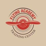 Πρότυπο εμβλημάτων εκπαιδευτικών κέντρων αεροπορίας με το αναδρομικό αεροπλάνο Στοιχείο σχεδίου για το λογότυπο, ετικέτα, έμβλημα Στοκ Εικόνες