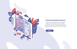 Πρότυπο εμβλημάτων Ιστού με το γιγαντιαίο smartphone, μικροσκοπικοί άνθρωποι γύρω από το και τη θέση για το κείμενο Επικοινωνία,  διανυσματική απεικόνιση