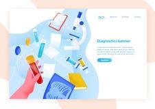 Πρότυπο εμβλημάτων Ιστού με το σωλήνα δοκιμής εκμετάλλευσης χεριών με το αίμα, τα ιατρικές εργαστηριακά εργαλεία και τη θέση για  απεικόνιση αποθεμάτων