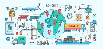 Πρότυπο εμβλημάτων με τα οχήματα και τα σκάφη φορτίου που μεταφέρουν εμπορεύματα Μεταφορά, διεθνές εμπόριο και παράδοση φορτίου διανυσματική απεικόνιση