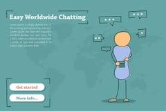 Πρότυπο εμβλημάτων για εύκολο παγκόσμιο Chating απεικόνιση αποθεμάτων