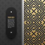 Πρότυπο εμβλημάτων Ιστού στο χρυσό μεταλλικό υπόβαθρο με το άνευ ραφής σχέδιο Στοκ εικόνα με δικαίωμα ελεύθερης χρήσης