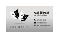 Πρότυπο επαγγελματικών καρτών για την αντιπροσωπεία εισιτηρίων Πωλώντας εισιτήρια θεάτρων διάνυσμα προτύπων επιχειρησιακής εταιρι ελεύθερη απεικόνιση δικαιώματος