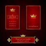Πρότυπο επαγγελματικών καρτών στο βασιλικό κόκκινο και χρυσό ύφος Στοκ Εικόνες