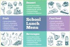 Πρότυπο επιλογών σχολικών καλαθακιών με φαγητό Σκίτσα των τροφίμων ελεύθερη απεικόνιση δικαιώματος