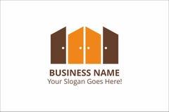 Πρότυπο επιχειρησιακών λογότυπων πορτών με το σύνθημα με τα χρώματα πορτοκαλιών και σοκολάτας Στοκ εικόνα με δικαίωμα ελεύθερης χρήσης