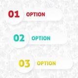01, 02, πρότυπο 03 επιλογών με το σχέδιο σπιτιών. Στοκ Εικόνες