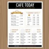Πρότυπο εστιατορίων καφέδων σχεδίου επιλογών με τα εικονίδια και το κείμενο Στοκ εικόνες με δικαίωμα ελεύθερης χρήσης