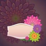 Πρότυπο ετικετών λουλουδιών Στοκ Εικόνες