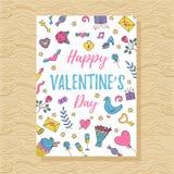 Πρότυπο ευχετήριων καρτών ημέρας βαλεντίνων ` s doodle Στοκ Εικόνα