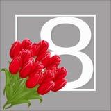 Πρότυπο ευχετήριων καρτών με τη διεθνή ημέρα γυναικών s στις 8 Μαρτίου λουλουδιών Στοκ Εικόνες