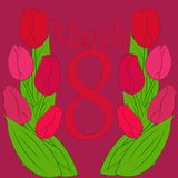 Πρότυπο ευχετήριων καρτών με τη διεθνή ημέρα γυναικών s στις 8 Μαρτίου λουλουδιών Στοκ φωτογραφία με δικαίωμα ελεύθερης χρήσης